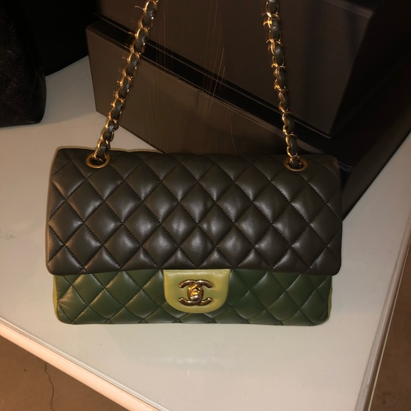 5649c42fc67437 CHANEL Bags | Auth Ml Tricolor Lambskin Double Flap 255 | Poshmark